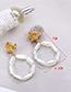 Fashion White Alloy Geometry Pearl Circle Earrings