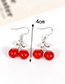 Fashion Red Cherry Shape Design Simple Earrings