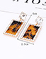 Elegant Coffee Square Shape Design Hollow Out Earrings