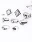 Fashion Silver Color Flower Pattern Design Ring Sets(8pcs)