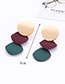Fashion Claret Red+green Color Matching Design Long Earrings