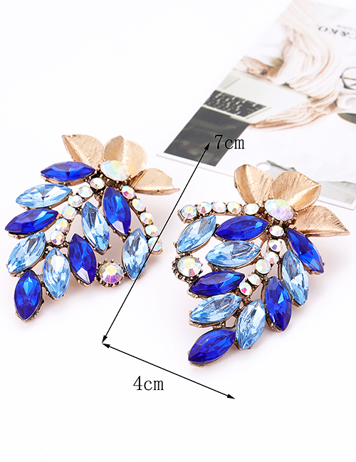 Fashion Sapphire Blue Flower Shape Decorated Earrings