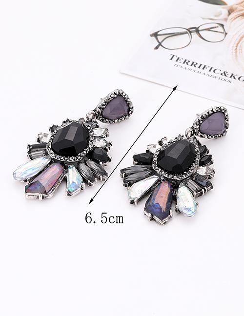 Fashion Black Irregular Shape Decorated Earrings