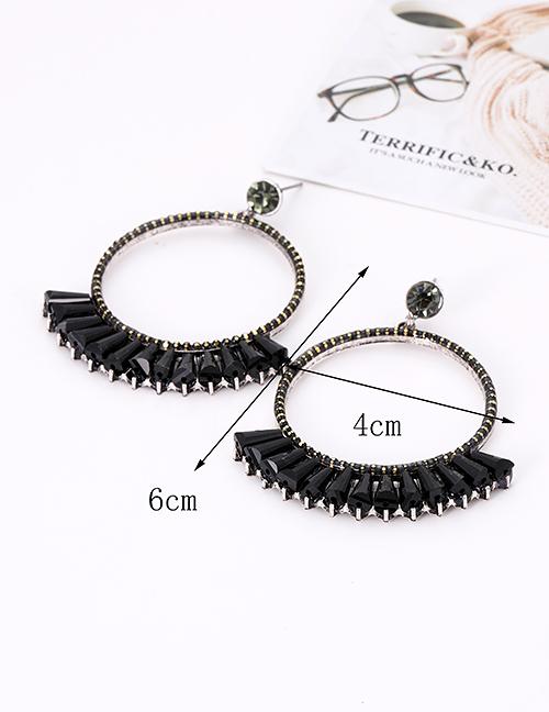 Fashion Black Round Shape Decorated Earrings