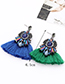 Fashion Blue Diamond Decorated Tassel Earrings