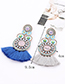 Fashion Sapphire Blue Circular Ring Decorated Tassel Earrings