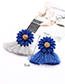 Fashion Multi-color Flowers Decorated Tassel Earrings