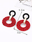 Fashion Claret Red Round Shape Decorated Earrings