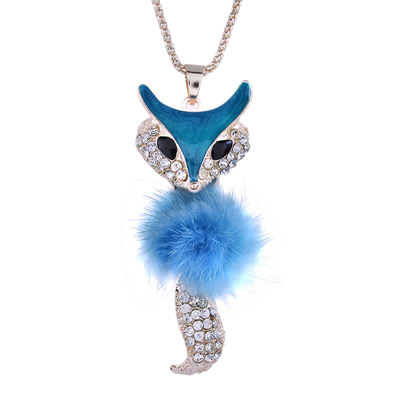 Hanging Blue Blink Fox Design Alloy Bib Necklaces