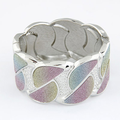 Sparking Silver Color D Shape Design Alloy Fashion Bangles