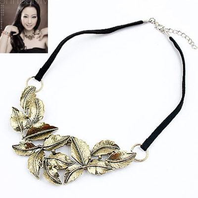 Mini Bronze Bohemia Leaves Design Alloy Bib Necklaces