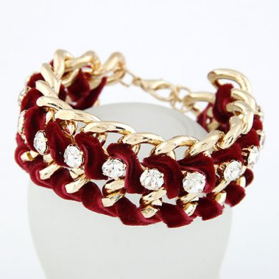 Skeleton Claret-Red Luxury Weave Chain Alloy Korean Fashion Bracelet