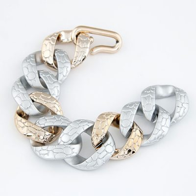 Unique Silver Color Wide Chain Design Ccb Korean Fashion Bracelet