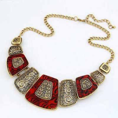 Hiking Red Fan Shape Design Alloy Bib Necklaces