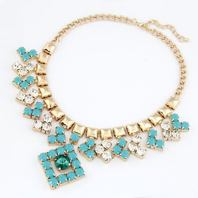 Monarchy Blue Blink Gemstone Design Alloy Bib Necklaces