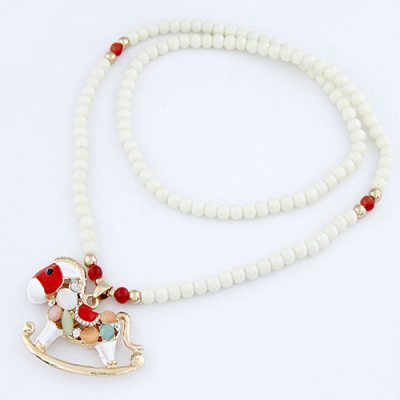 Bridesmaid Multicolor Horse Beads Pendant Alloy Beaded Necklaces