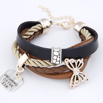 Legal Black Butterfly Multilayer Ccb Korean Fashion Bracelet