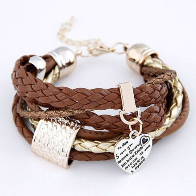 Recycled Brown Heart Multilayer Ccb Korean Fashion Bracelet