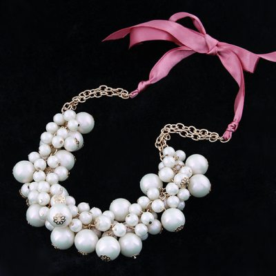 Embossed White Pearls Ribbon Design Alloy Bib Necklaces