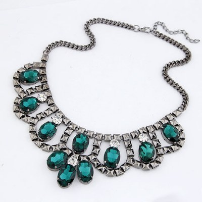 Pantsuit Dark Green Luxury Collar Design Alloy Bib Necklaces