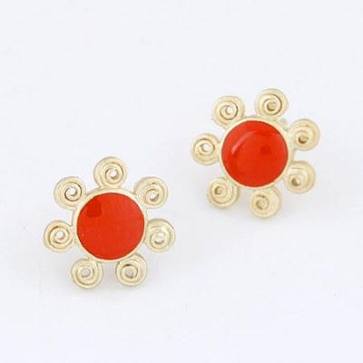 Printed Red Sun Flower Design Alloy Stud Earrings
