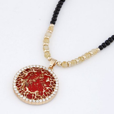 Oval Red Bling Circle Design Alloy Bib Necklaces