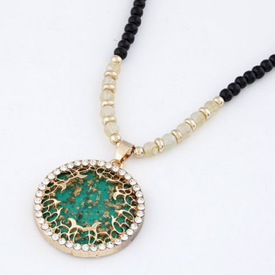 Automatic Dark Green Bling Circle Design Alloy Chains