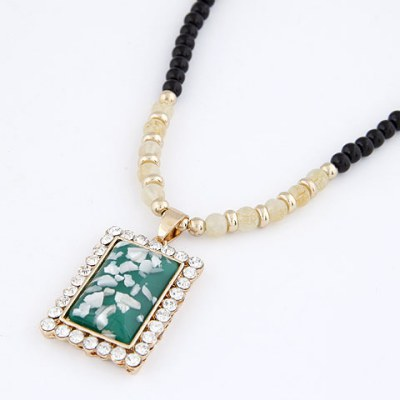 Fantasy Dark Green Bling Square Design Alloy Beaded Necklaces