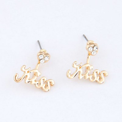 2011 Gold Color Simple Kiss Design Alloy Stud Earrings