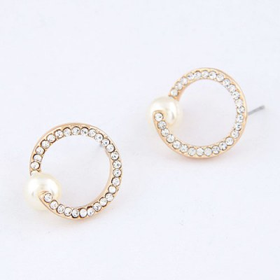 Profession White Pearl Circle Design Alloy Stud Earrings