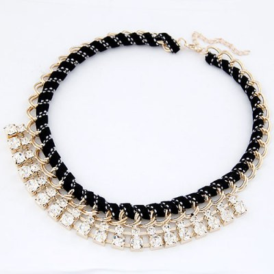 Charming Gold Color Luxury Weave Design Alloy Bib Necklaces