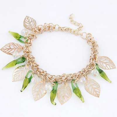 Moving Green Sweety Pepper Design Alloy Korean Fashion Bracelet