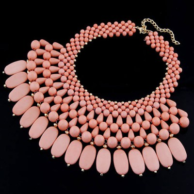 Renaissanc Pink Beads Weave Multilayer Design Rosin Bib Necklaces