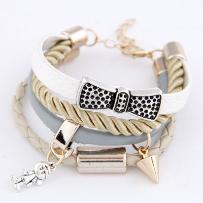 Stretch White Angel Pendant Multilayer Design Leather Korean Fashion Bracelet