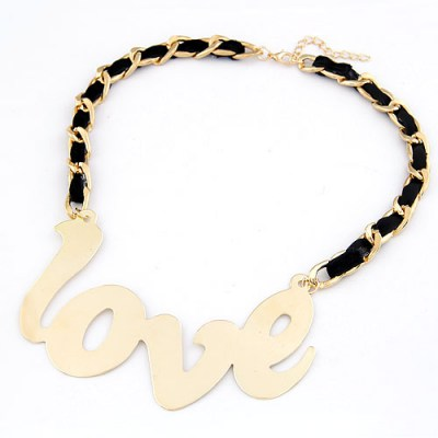 Pewter Gold Color Love  Letters Design Alloy Bib Necklaces
