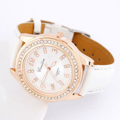Slacks White Cortocal Simple Design Alloy Ladies Watches