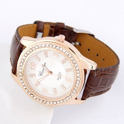 Polaris Coffee Cortocal Simple Design Alloy Fashion Watches