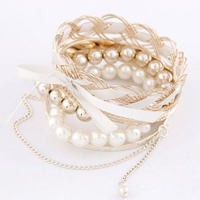 Tory Gold Color Bowknot Decorated Multilayer Design Alloy Fashion Bangles