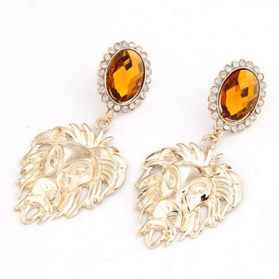 Easter Gold Color Lion Style  Design Alloy Korean Earrings