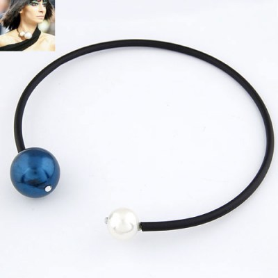 Hydraulic Navy Blue Big  Pearl Circle Design Rubber Band Chokers