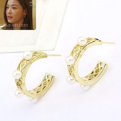 Piercing Gold Color Pearl Decorated Simple Design Alloy Stud Earrings