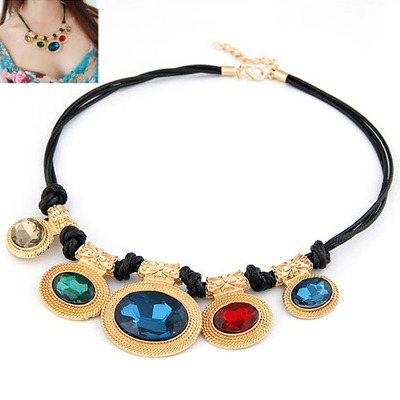 Expired Multicolor Oval Pendant Design Alloy Bib Necklaces
