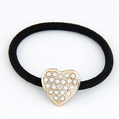 Natural Gold Color Heart Shape Design Rubber Band Hair band hair hoop