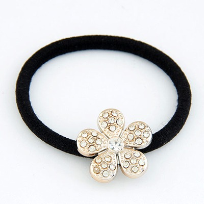 Bohemian Gold Color Flower Shape Design Rubber Band Hair band hair hoop