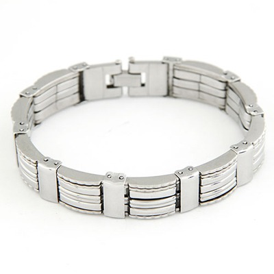 Jockey Silver Color Simple Punk Design Stainless Steel Fashion Bracelets