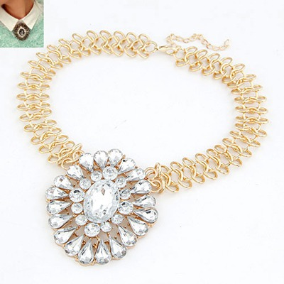 Baroque White Gemstone Drop Shape Design Alloy Bib Necklaces