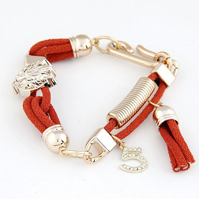 Coast Jacinth Leopard Head Decorated Design Alloy Korean Fashion Bracelet