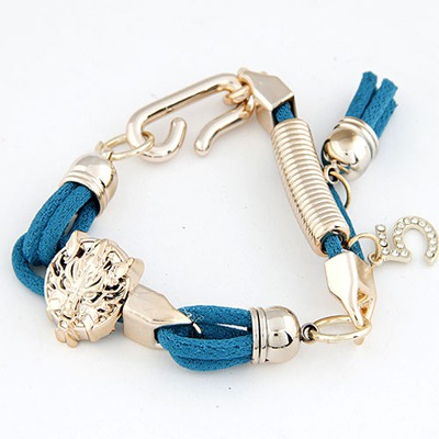 Uniform Blue Leopard Head Decorated Design Alloy Korean Fashion Bracelet