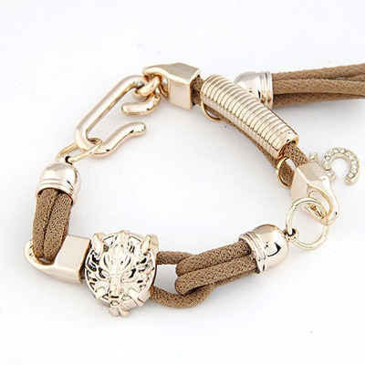 Little Coffee Leopard Head Decorated Design Alloy Korean Fashion Bracelet