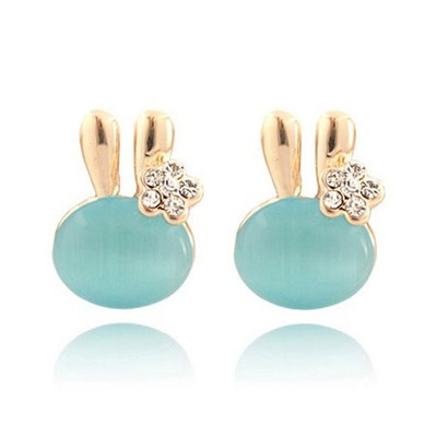 Skate Light Blue Cute Rabbit Design Alloy Stud Earrings
